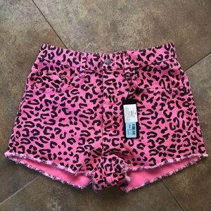 LF brand neon pink denim shorts leopard print